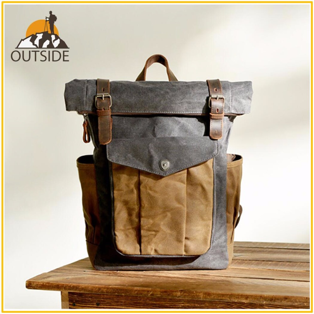 Classic Old School Design Bull Leather Explorer Climbing Outdoor Backpack Hiking Cycling Quality Man Women Travel