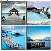 CLSTROSE 4 Painéis Oceano Praia Resorts E Ponte Inverno Lago Cópias Da Lona Pintura Moderna da Arte Da Parede Da Paisagem Da Natureza Da Pintura