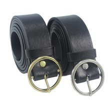 New Fashion Accessories Punk Belt Round Metal Circle Belts Hot Designer Brand Punk O Ring Leather Belts For Women W4(China)