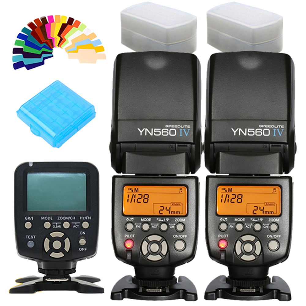YONGNUO YN560IVx2 YN560 IV YN560-IV YN-560 IV + YN560TX YN-560TX Master Speedlite Controller Flash Speedlight Per Canon Nikon