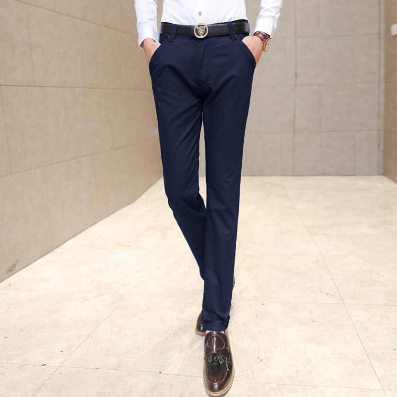 e5647ec8682 ... 2019 New Men s Fashionable Fine Quality Comfortable Pure Color Business  Casual Pants   Men Slim Slacks ...