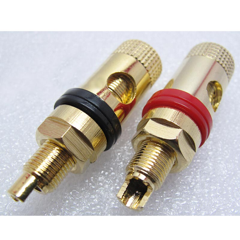 A Pair Banana Connector Gold-plated Banana Plug Sockets Copper Supply Terminal For Stereo Speakers New