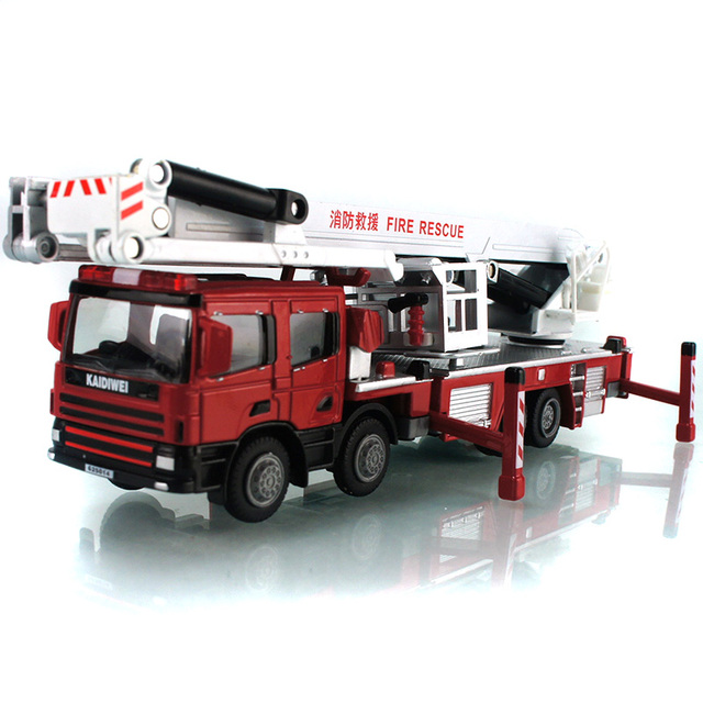1:50 Alloy Glide Construction Vehicles Aerial Fire Rescue Truck Model Baby Educational Toys Gift