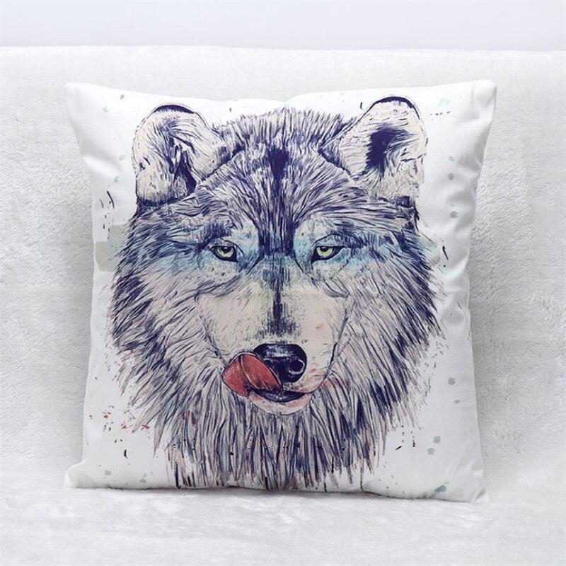 Creative 3D Animal Wolf Printed Cushion Cover Soft Suede Car Home Sofa Seat Throw Pillow Case Home Decor