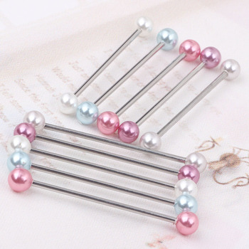 2pcs  Industrial Piercing Barbells - Acrylic Pearl color  Piercing Bars 5 color choose Body piercing ear barbell Пирсинг ушей