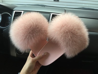 50dbc2135 2018 hot Sale thickness bottom Women Fur Slippers Luxury Real Fox Fur Beach  Sandal Shoes Fluffy Comfy Furry Flip Flops-in Slippers from Shoes on ...