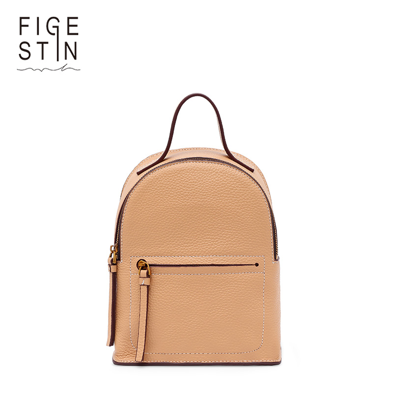 FIGESTIN Mini Women Backpacks Genuine Leather Fashion Preppy Style School Bag Small Backpack for Girls <font><b>Real</b></font> Leather Bagpack