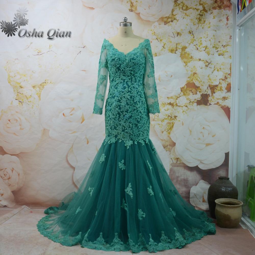 Emerald Green Abendkleid Langärmelige Spitze Türkische