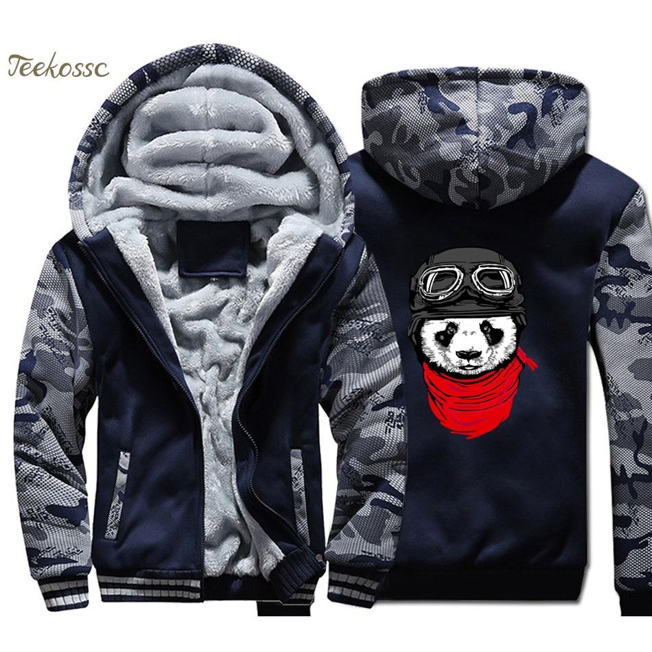 Cute Panda Hoodies Men Harajuku Sweatshirt Winter Thick Fleece Super Warm Jackets Graphics Design Streetwear Crossfit Cool Coats