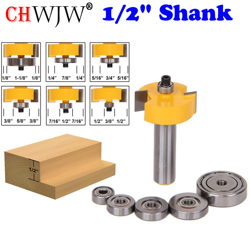 Rabbet Router Bit with 6 Bearings Set - 1/2 Shank Woodworking cutter Tenon Cutter for Woodworking Tools high grade carbide alloy 1 2 shank 2 1 4 dia bottom cleaning router bit woodworking milling cutter for mdf wood 55mm mayitr