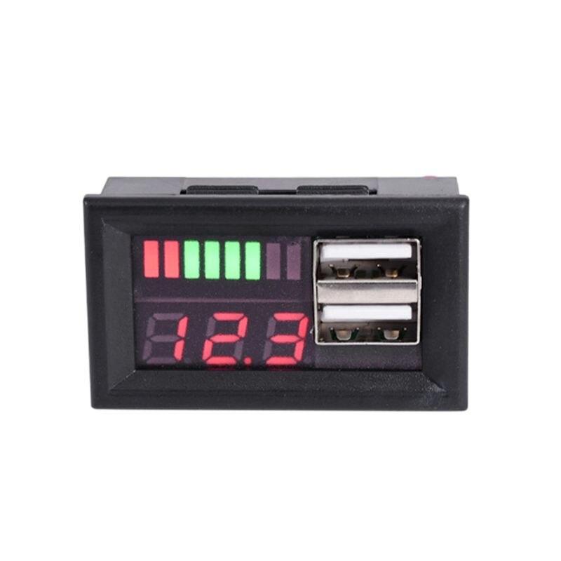 Red LED Digital Display Voltmeter Mini Voltage Meter Battery Tester Panel For DC 12V Cars Motorcycles Vehicles USB 5V2A Output