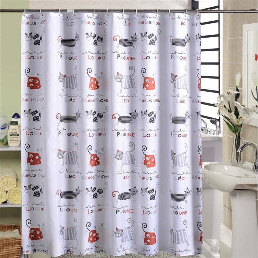 Buy Cartoon Cat Shower Curtain Ocean Cortina Ducha Thick Waterproof Polyester