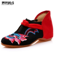 Vintage Embroidery Shoes Women Cloth Shoes Size 34 41 Chinese National Breathable Comfortable Soft Sole Canvas