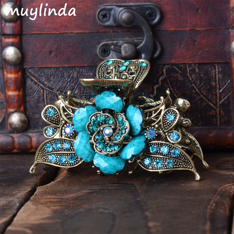 Vintage Hair Jewelry Antique Metal Flower Hair Claws Rhinestones Hair Clip For Women Girls 12cm large acrylic studs crystal claws women black hair clip super quality hair claw black white colors girl hair accessories