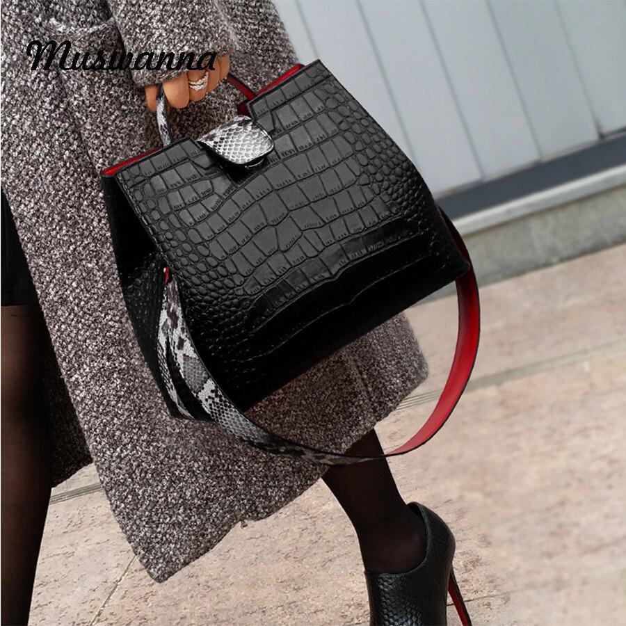 Luxe Crocodile femmes sac à main peau de serpent large bandoulière sac seau Designer sac à bandoulière boucle haute capacité Totes 2019