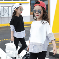 Stripes Patched Kids Girls Blouse Long-sleeve Shirt for Girls Tops and Blouses 2017 Fall New Teenage Girls Clothes White Black