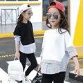Tiras Remendado Crianças Blusa Meninas da Longo-luva Shirt para Meninas Tops e Blusas 2017 Novo Adolescente Meninas Roupas Brancas preto