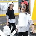 Tiras Remendados Niñas Blusa de manga Larga Camiseta para Niñas Tops y Blusas 2017 Nueva Adolescentes Ropa Blanca negro