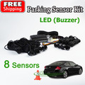 Car LED Parking Sensor Kit 8 Sensors 22mm Backlight Display Reverse Backup Radar Monitor System 12V Free Shipping