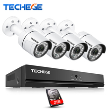 Techege 4CH 1080P POE 48V NVR kit HD 2.0MP POE IP Camera IP66 Waterproof Outdoor P2P PoE Kit Email Alert CCTV Camera System