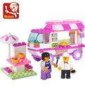 Sluban Pink dream girls furgonetas Edificio FW060 establecen Bloques de Construcción de Ladrillos Aclare Los Juguetes Para Niños de Regalo