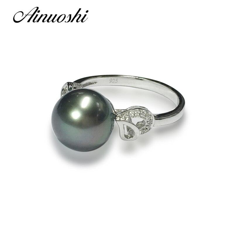 AINUOSHI стерлингового серебра 925 желтый кольцо в форме сердца черный культивированный жемчуг Таити 9 мм круглый жемчуг Для женщин Обручение ко