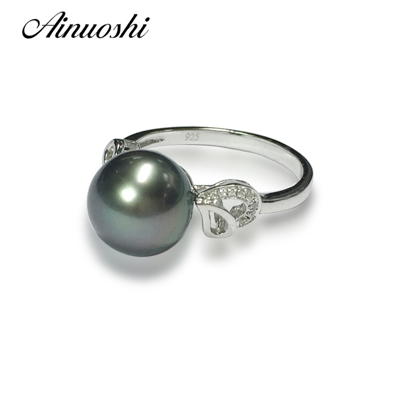 AINUOSHI 925 Sterling Silver Yellow Heart Shaped Ring Black Cultured Pearl Tahiti 9mm Round Pearl Women Engagement Rings Jewelry 925 silver heart shaped pattern ring silver