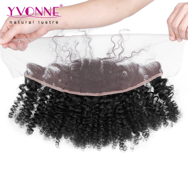 13.5*4 Afro Kinky Curly Brazilian Lace Frontal Closure, Top Quality YVONNE Virgin Human Hair Free Part Lace Frontal