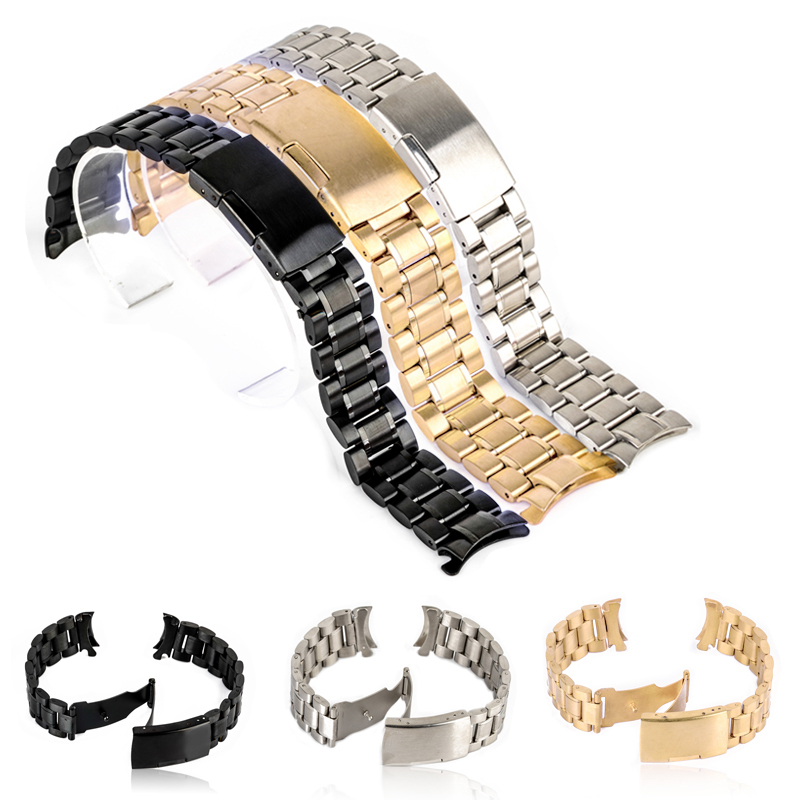 18/20/22/24mm Curved End Watch Band Unisex Stainless Steel Metal Wristwatch Strap Double Fold Deployment Clasp Bracelet 3 Colors цена