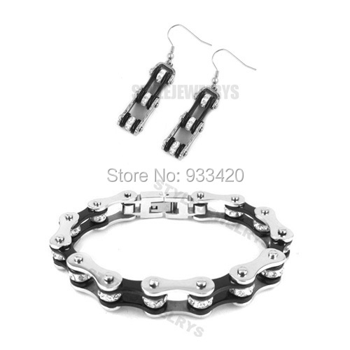 Free shipping! Bling Silver & Black Bicycle Chain Motor Earring and Bracelet Stainless Steel Jewelry Women Biker Set SJB0151L