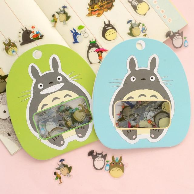 R12 60 unids/pack Kawaii Mi Vecino Totoro DIY Despejan Etiqueta Palo Decoración de Papel Scrapbooking Álbum Diario Pegatinas Decorativas