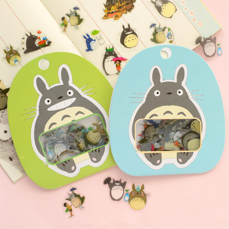 R12 60pcs/pack Kawaii My Neighbor Totoro DIY Clear Stickers Decorative Scrapbooking Diary Album Stick Label Decor Paper
