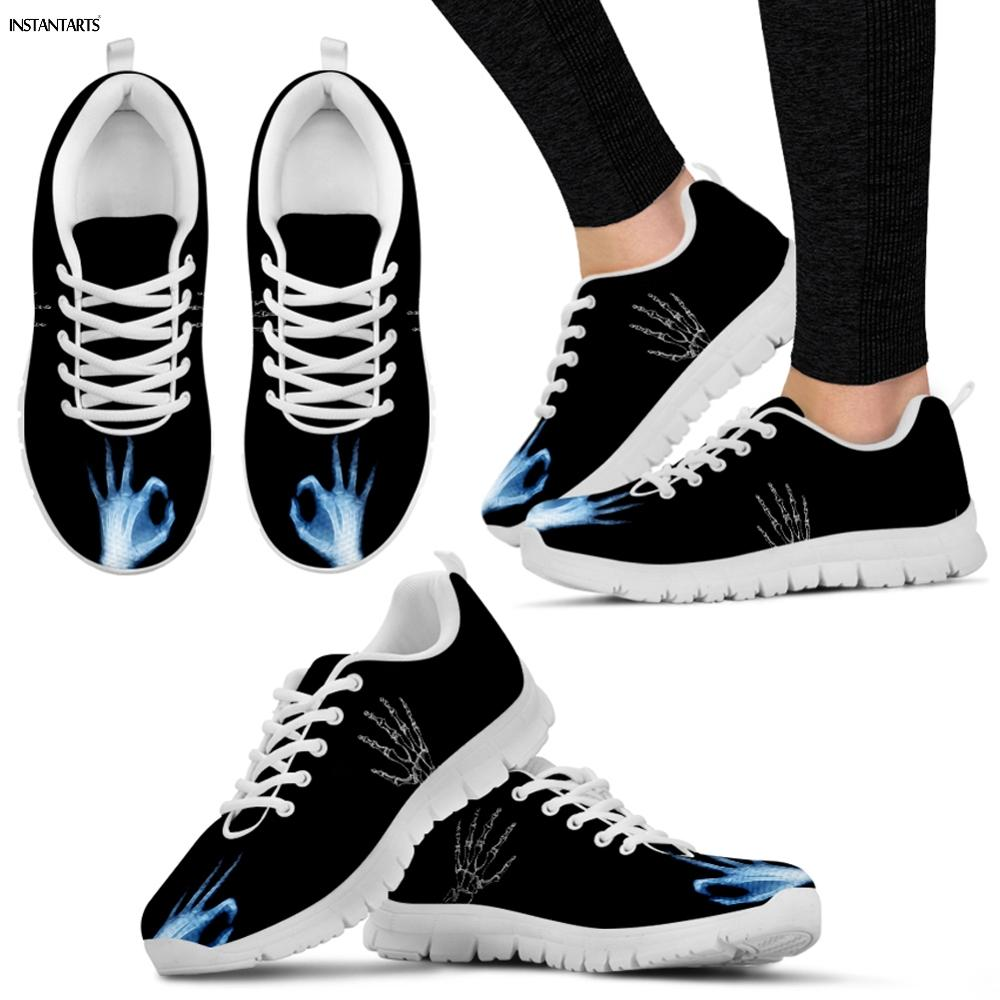 INSTANTARTS Ok Sign X-ray Of Human Hand Print Women Men Running Shoes Breath Light Outdoor Air Mesh Sneakers Athletic Gym Shoes