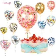 Taoup Balloons Shape Happy Birthday Cake Topper Cake Decorating Supplies Wedding Decor for Cake Cupcake Toppers Baby Shower Girl happy birthday banner baby shower balloons cake topper for wedding decor unicorn birthday party supplies