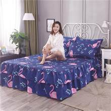 150*200cm Hoge Kwaliteit Flamingo Bed Rok antislip Beschermende Cover Delicate Rand Bed Cover Lakens Bruiloft housewarming Gift(China)