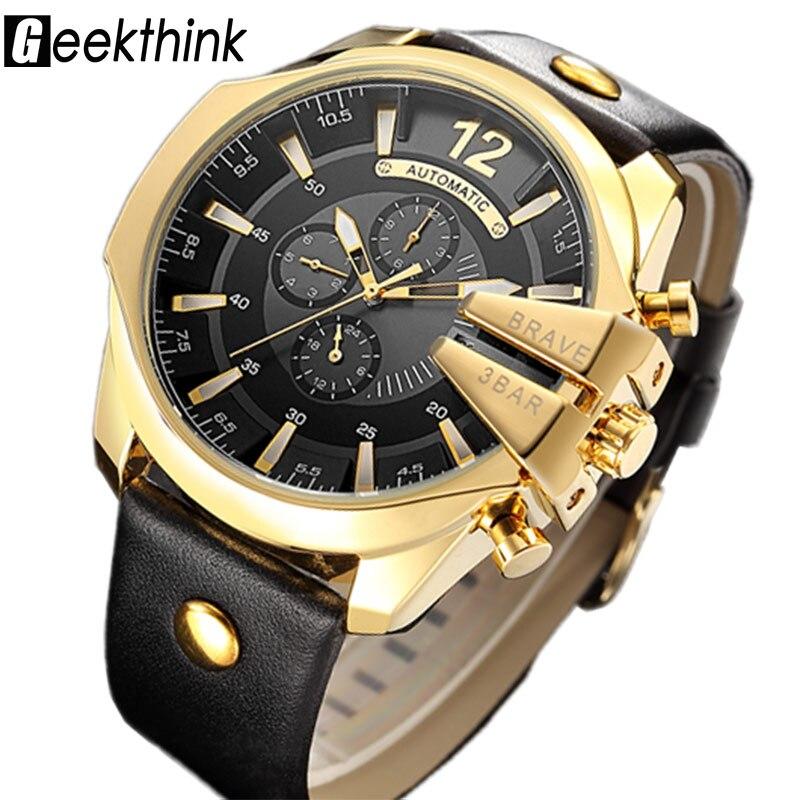 Geekthink Top marca de lujo reloj mecánico automático de los hombres deportes auto viento correa de cuero reloj de moda reloj masculino nuevo