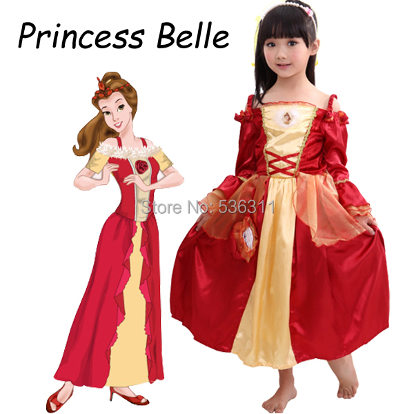 Free Shipping Costume Beauty And The Beast Cosplay Princess Belle Dress For Children Girls Party 2017 In Costumes From Novelty