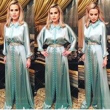 Modest Moroccan Kaftan Abaya Long Sleeves Satin High Neck Hijab Muslim Evening Dresses Beaded Evening Gown