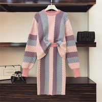 HIGH QUALITY Women Set 2019 Spring Knit Sweater Pullovers+ Skirt Set 2 Pieces Causal Suits Ladies Irregular Striped Knitted Suit
