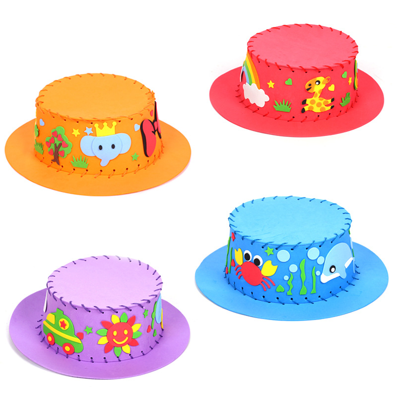 Eva Paste Hat Teaching Kindergarten Manual Diy Early Learning Education Toys Montessori Teaching Aids Craft Toys