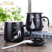 Creactive Cat Ceramic Tea Cup Personality Cartoon Milk Juice Lemon Mug Coffee Cups with Handgrip Home Office Drinkware Gift