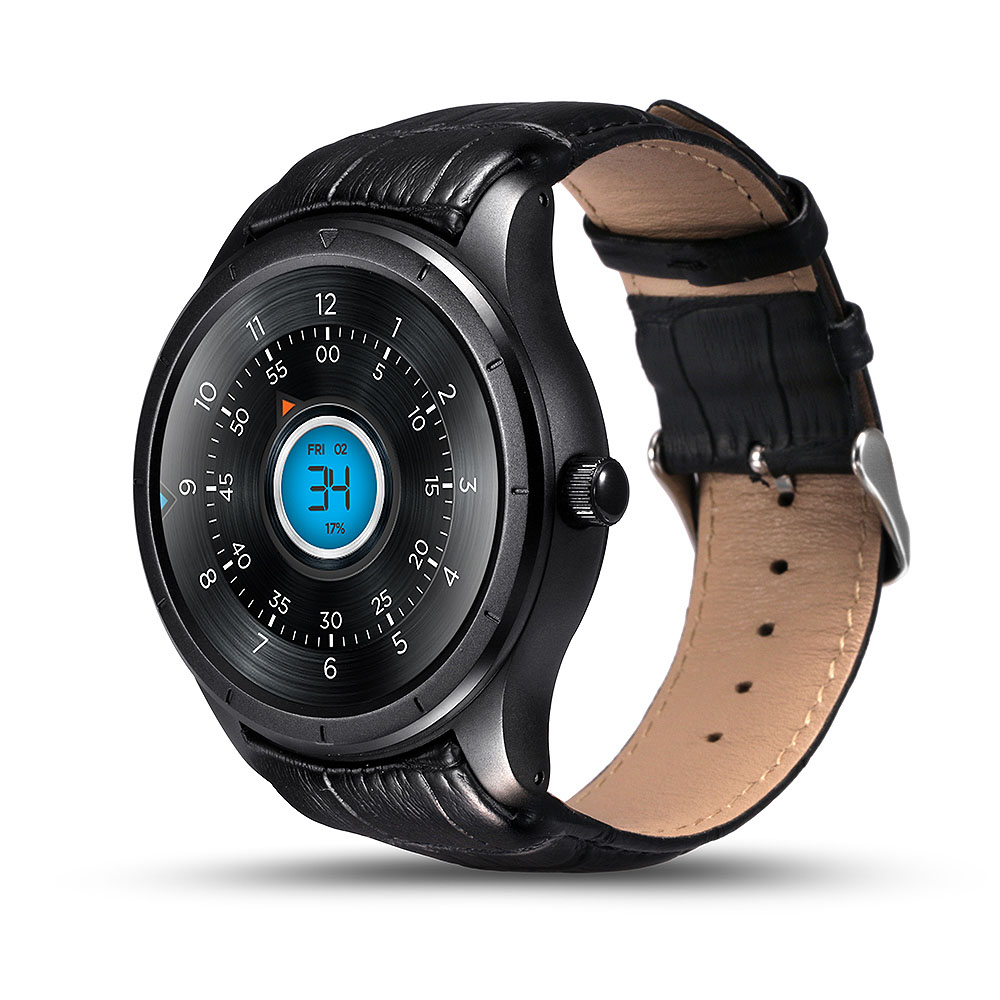 Q3 1.39 pouces Amoled écran montre intelligente Android 3G GPS WIFI Bluetooth moniteur de fréquence cardiaque Smartwatch hommes avec bracelet en cuir