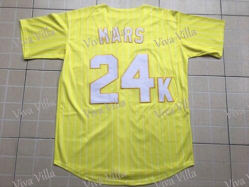 Bruno Mars 24K Custom Men Hooligans BET Awards Baseball Jersey Stitched Yellow Red Blue Throwback Baseball Jerseys VIVA VILLA