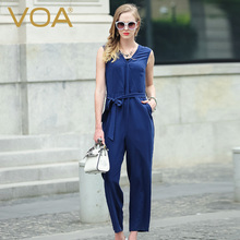 VOA European and American silk crepe jumpsuit 2016 new female models fashion loose pants K5939