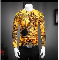 youth fall fashion sweaters hot sale design Men's sweater yellow tiger print color sweater  top quality 520