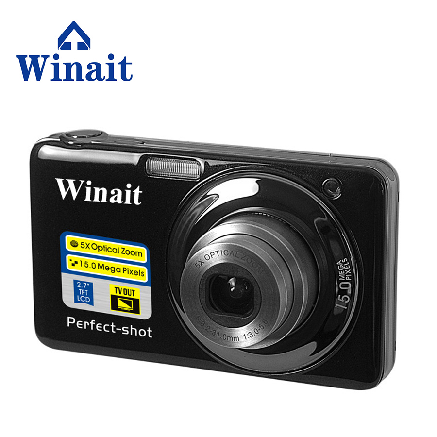 Winait Digital Compact camera 20 mega pixels with 2.7'' TFT display and 8x optical zoom Free shipping 8x zoom optical mobile phone telescope camera black