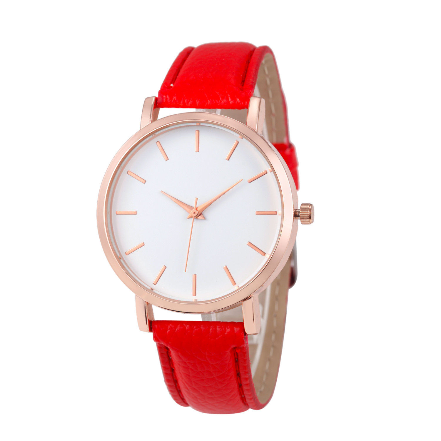 Fashion Lady Watch with Red Leather Strap