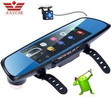 Anstar Android Зеркало заднего вида Видеорегистраторы для автомобилей регистраторы GPS навигации 6.86 «Экран Full HD 1080 P Парковочные системы Двойной объектив Камера