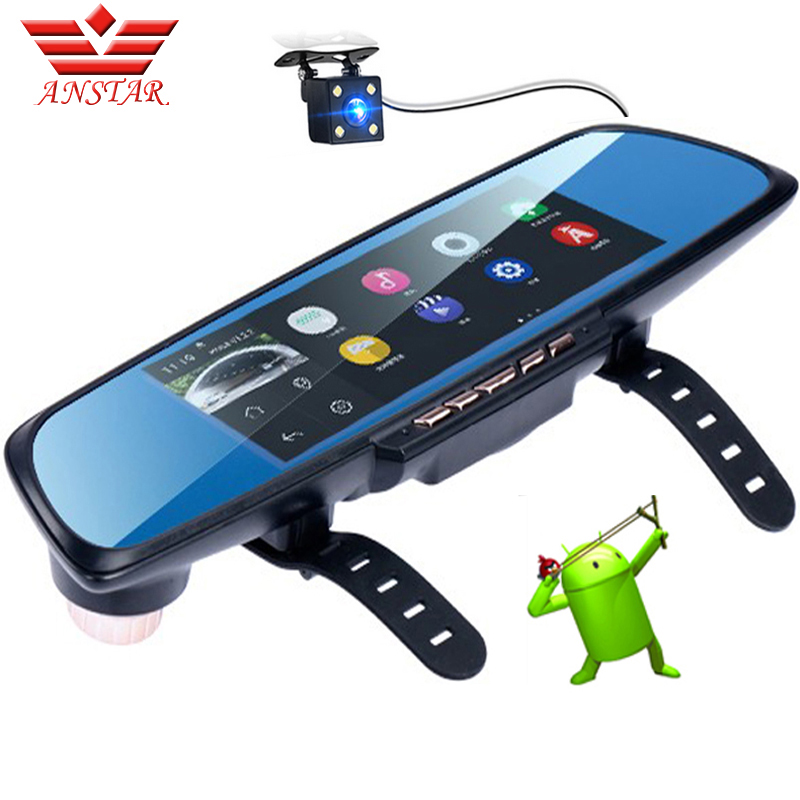 "ANSTAR Rearview Mirror Car DVR Dash Cam GPS Navigation 6.86"" Screen Full HD 1080P Android Parking Assistance Dual Lens Camera"
