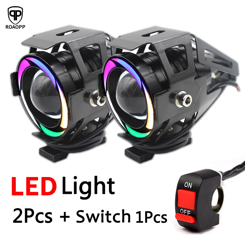2PCS Universal LED Motorcycle Headlight U7 Motorbike Driving Fog Spot Head DRL running Light Spotlight Assist Lamp Light Switch Мотоцикл